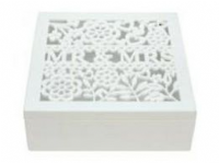 Gisela Graham - White Wood Fretwork Mr & Mrs Sq Keepsake Box